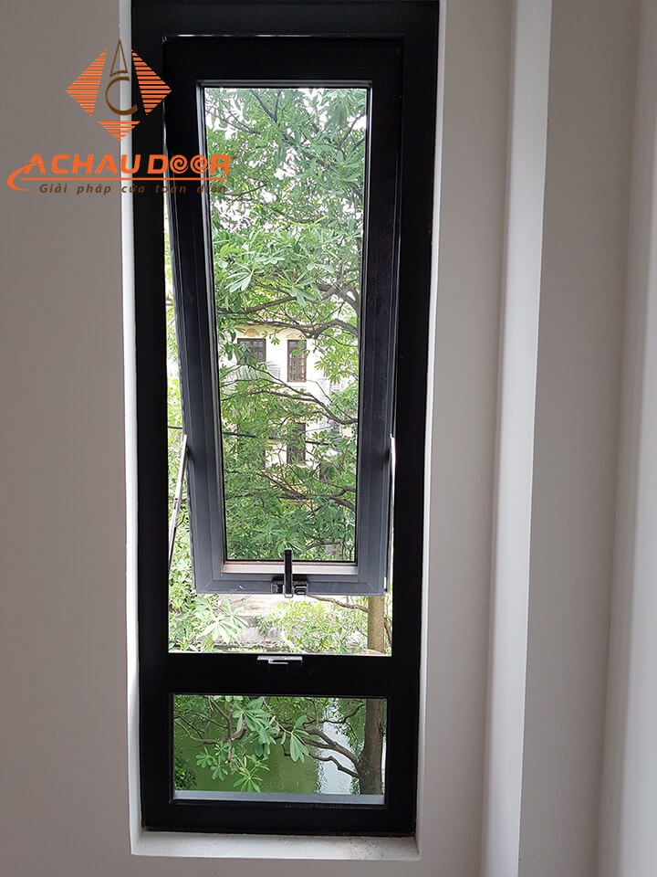 Mẫu cửa sổ 1 cánh mở hất nhôm Xingfa màu xám ghi