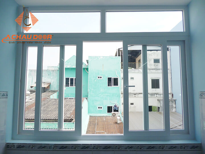Cửa sổ 4 cánh mở trượt nhôm Xingfa màu trắng